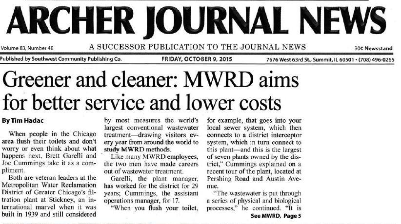 MWRD 2015 News Coverage