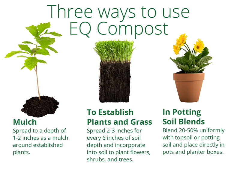 Three ways to use compost - mulch, est. plants and grass, potting soil blends